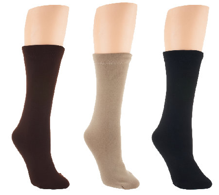 Passione Set of 3 Faux Fur Lined Crew Socks