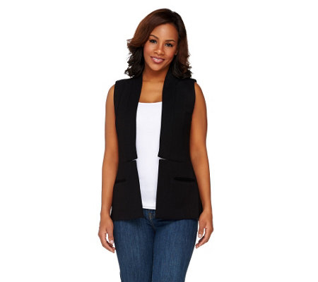 Styled by Joe Zee Open Front Boyfriend Woven Vest