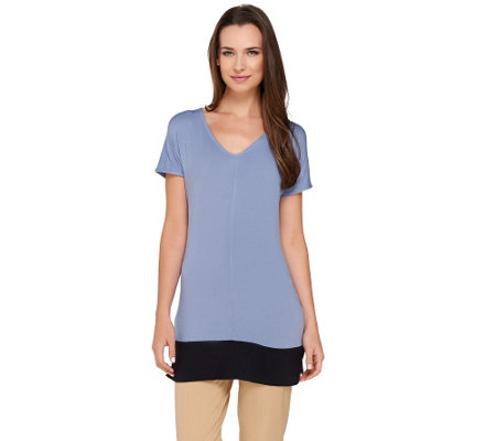 Lisa Rinna Collection Short Sleeve Color-Block Knit Tunic