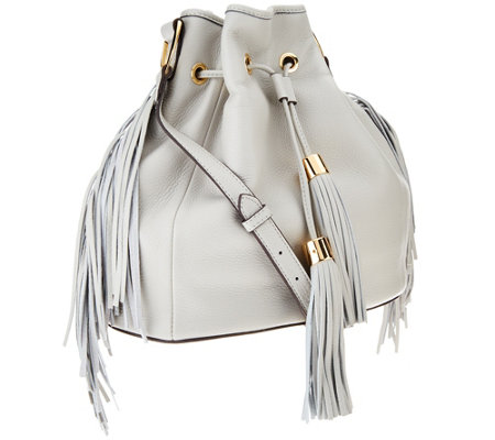G I L Pebble Leather Drawstring Bag With Fringe