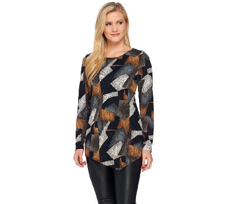 Attitudes by Renee Jacquard Knit Tunic with Asymmetric Hem