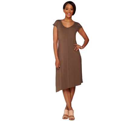 H by Halston Knit Midi Dress with Asymmetric Hem