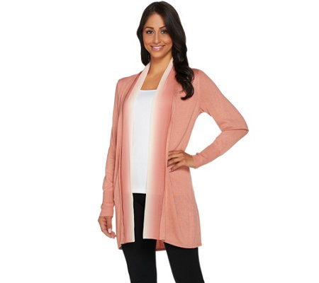 H by Halston Open Front Cardigan with Ombre Chiffon Trim