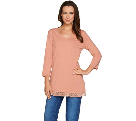 Isaac Mizrahi Live! 3/4 Sleeve Knit Tunic with Lace Hem