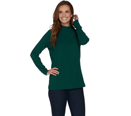 Denim & Co. Essentials Rib Mock Neck Long Sleeve Top