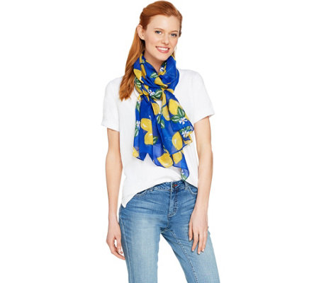 Denim & Co. Lemon Printed Scarf