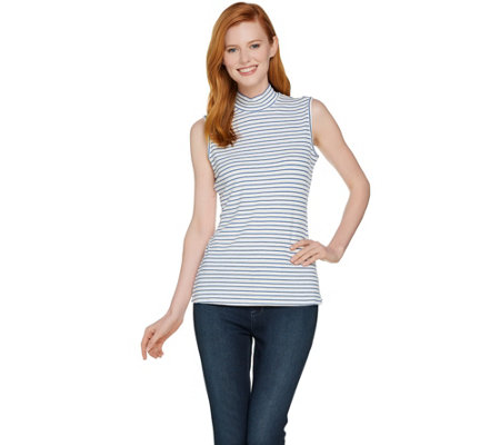 Lisa Rinna Collection Sleeveless Mock Neck Rib Knit Top