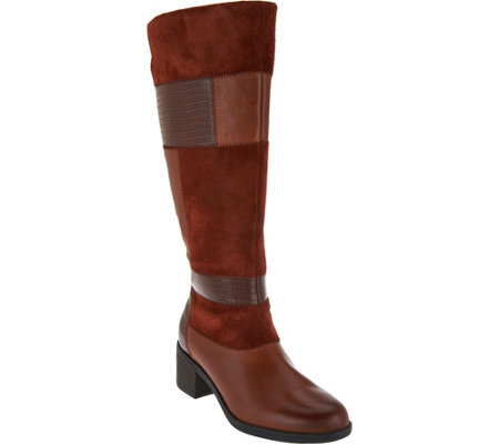 """As Is"" Clarks Leather Wide Shaft Patchwork Boots - Nevella Nova"