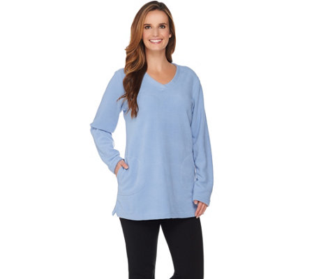 """As Is"" Denim & Co. Petite Fleece Tunic with Crossover V Neck Collar"
