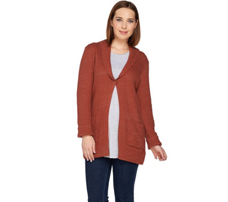 """As Is"" LOGO by Lori Goldstein Melange Sweater Knit Cardigan w/Shawl Collar"