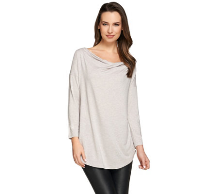 """As Is"" H by Halston Essentials Cowl Neck 3/4 Sleeve Knit Top"