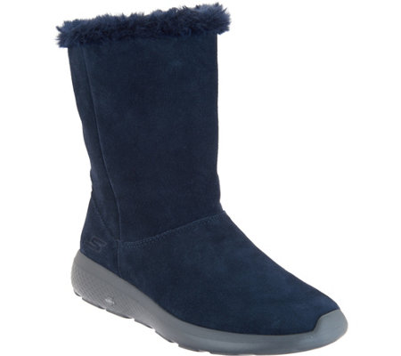 Skechers GOwalk Suede and Faux Fur Boots Stunning —