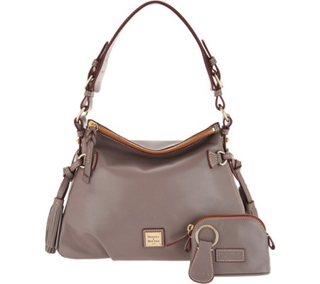 Dooney & Bourke Smooth Leather Shoulder Bag w/ Accessories ...