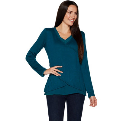 Kelly by Clinton Kelly Faux Wrap Top  w/ Woven Detail