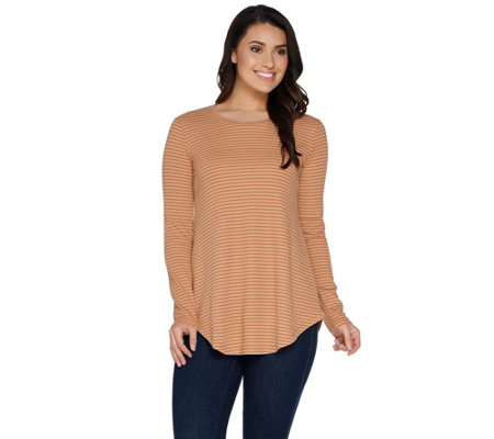 LOGO Layers by Lori Goldstein Stripe Waffle Top with Shirttail Hem