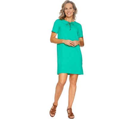 """As Is"" Susan Graver Weekend French Terry Dress with Lacing"