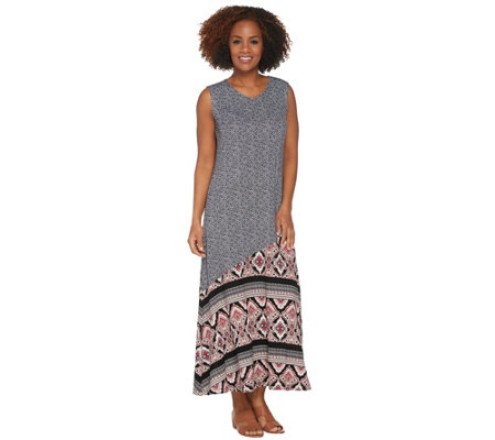 Joan Rivers Petite Length Mixed Pattern Sleeveless Maxi Dress