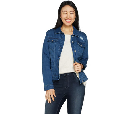 Martha Stewart Distressed Denim Button Front Jean Jacket