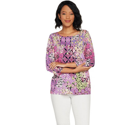 Susan Graver Printed Cool Liquid Knit Top