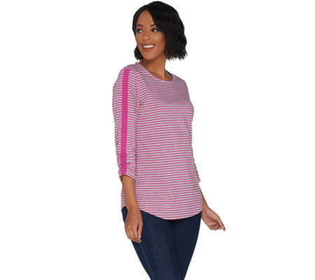 Denim & Co. Active Striped Knit Top with Ruched Sleeve Detail