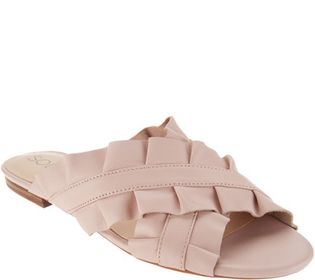 Sole Society Leather Ruffle Slide Sandals - Mandi