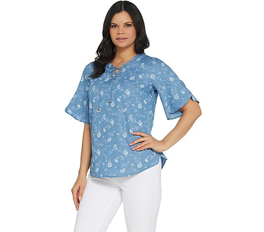 Isaac Mizrahi Live! TRUE DENIM Floral Print Lace-Up Blouse