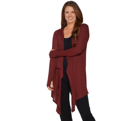 """As Is"" AnyBody Loungewear Brushed Hacci Hooded Cascade Cardi"