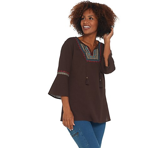 Denim & Co. Crinkle Gauze Embroidered Top