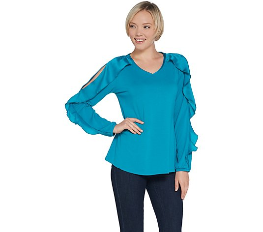 H by Halston Knit Crepe V-Neck Top with Overlap Sleeve Detail