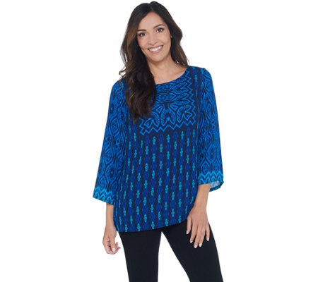 Bob Mackie Global Print Woven Pullover Top