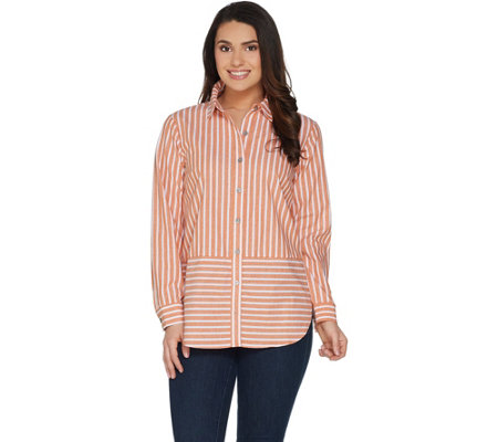 """As Is"" Joan Rivers Long Sleeve Striped Button Front Shirt"