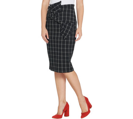 Brooke Shields Timeless Pull On Box Plaid Skirt W Bow Detail