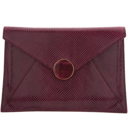 Lola Rose Leather Pouch with Gemstone Closure