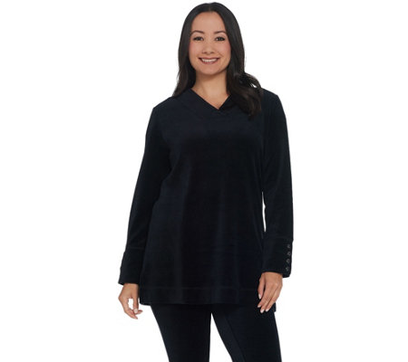 Denim & CO. Active Stretch Velour Tunic with Button Detail