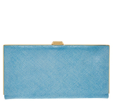 """As Is"" LODIS Italian Leather Frame Clutch w/RFID- Quinn"