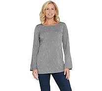 Susan Graver Liquid Knit Tunic with Metallic Stud Design - A344826