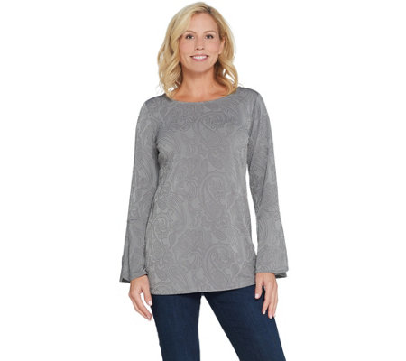 Susan Graver Liquid Knit Tunic with Metallic Stud Design