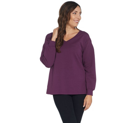 H by Halston Long Sleeve French Terry Sweatshirt Tunic
