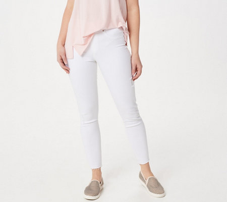 Spanx Distressed White Denim Skinny Jean