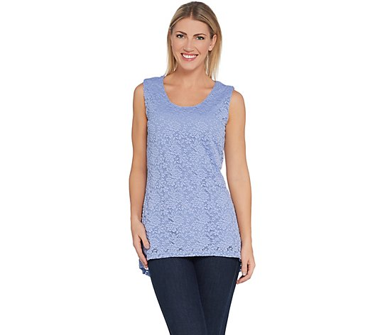 """As Is"" Susan Graver Stretch Lace Peplum Sleeveless Top"