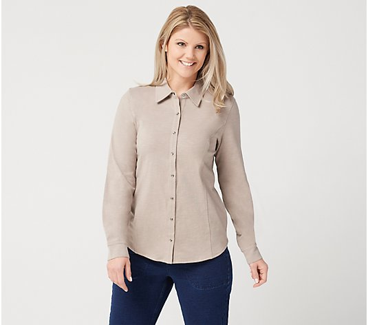 Denim & Co. Textured Knit Snap Front Collared Long Sleeve Top