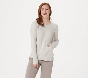 4954a5f36d Barefoot Dreams Cozychic Lite Raglan Crew Top with Pocket - A350626
