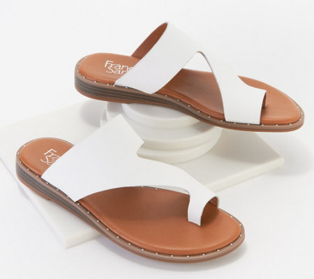 Franco Sarto Leather Toe Loop Sandals Ginny