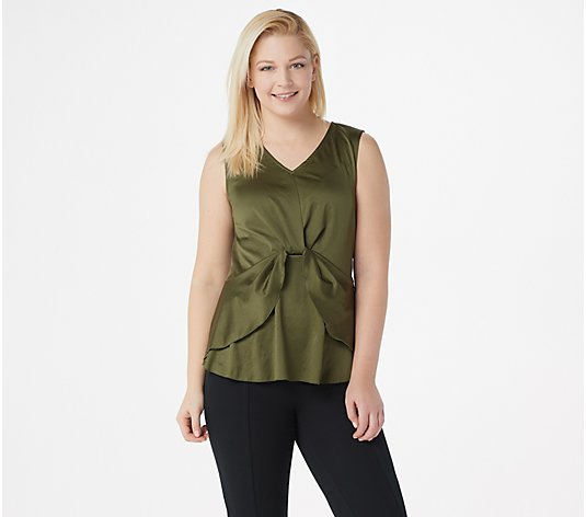 Du Jour V-Neck Woven Top with Layered Hemline
