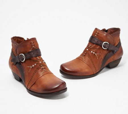 Excellent Miz Mooz Leather Buckle Ankle Boots Marnie Qvc Com Alphanode Cool Chair Designs And Ideas Alphanodeonline