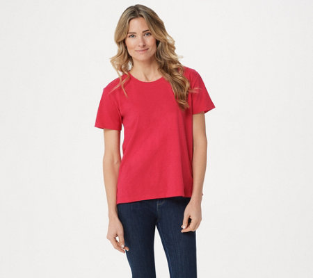 """As Is"" LOGO by Lori Goldstein Cotton Slub Oversized Tee with Slits"
