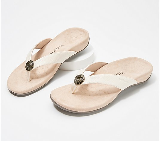 Vionic Woven Thong Sandals with Metallic Detail - Hilda