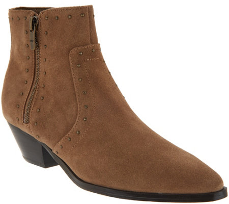"""As Is"" Marc Fisher Leather Western Detail Ankle Boots- Wanida"
