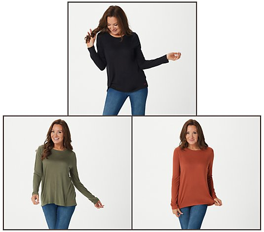 Peace Love World Set of 3 Round Neck Long Sleeve Tee Bundle