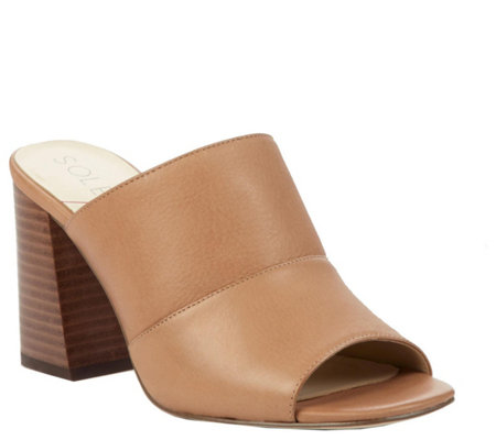 Sole Society Flared Heel Mules - Joannah